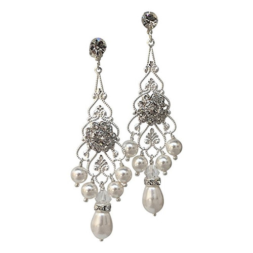 Bridal Crystal Simulated Pearl Vintage Chandelier Earrings with Crystal from Swarovski