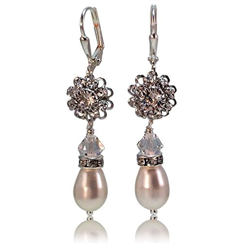 Bridal Rhinestone Flower Teardrop Simulated Pearl Earrings with Crystal from Swarovski