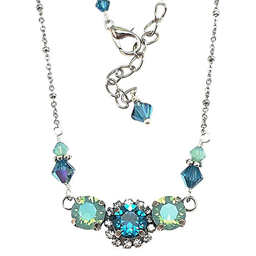 Ocean Blue Chaton Rhinestone Pendant Necklace adorned with crystal from Swarovski