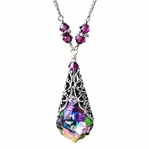 Paradise Shine Baroque Crystal Silver-tone Filigree Vintage Pendant Necklace