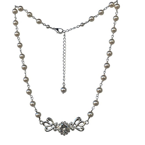 Bridal Silvertone Filigree Simulated Pearl and Chaton Crystal Necklace