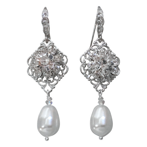 Bridal Vintage Inspired Filigree Earrings Simulated Pearls adorned with Crystals from Swarovski