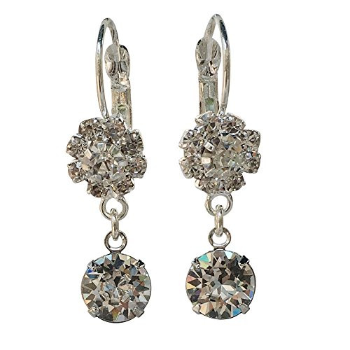 Bridal Rhinestone Flower and Clear Chaton Crystal Earrings