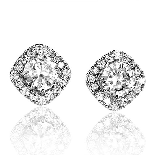 Bridal Cushion Shape Halo Stud Rhinestone Earrings