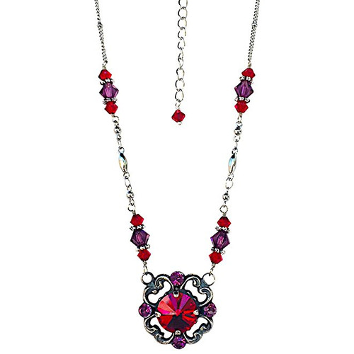 Vintage Inspired Oxidized Silver-Tone Filigree Red Crystal Pendant Necklace