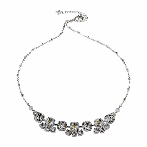 Bridal Crystal Moonlight Chaton Silver-Tone Statement Necklace