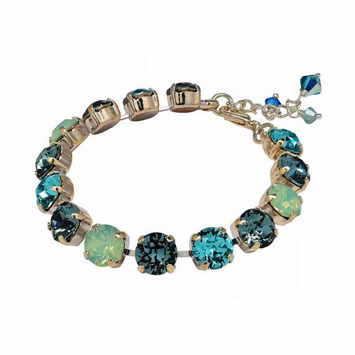 Multi-Color Aqua and Crystal Blue Shade Chaton Crystal Tennis Style Bracelet