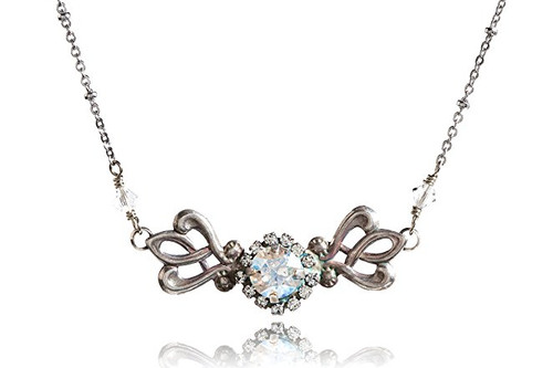 Crystal Chaton Vintage Inspired Oxidized Silver-Tone Filigree Choker Necklace