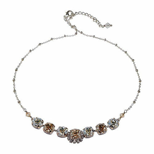 Bridal Rhinestone Golden Shadow and Crystal Moonlight Chaton Choker Necklace