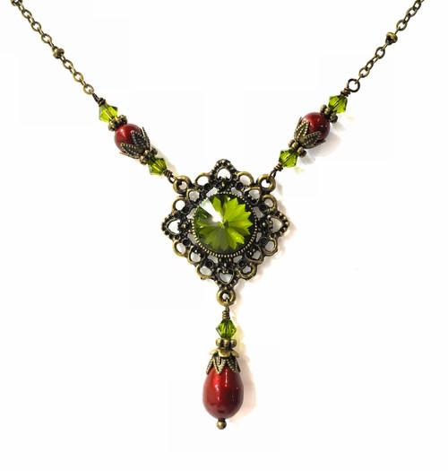 Rivoli Green Crystal Filigree Pendant Necklace with Crystals from Swarovski