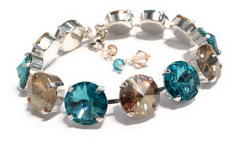 Golden Shadow and Aqua Blue Rivoli Bracelet with Crystals from Swarovski