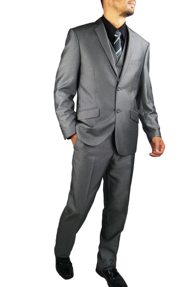Silver Grey Men's Slim Fit   Fascino Uomo 3PC 2 Button Metallic ...