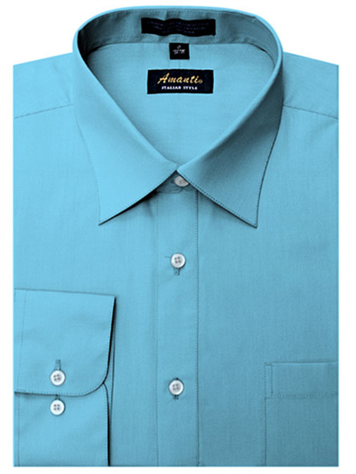 Teal blue men 39 s classic solid regular fit amanti dress for Teal mens dress shirt