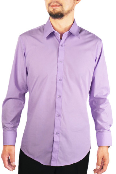 Lavender men 39 s solid slim fit amanti convertible cuff Light purple dress shirt men