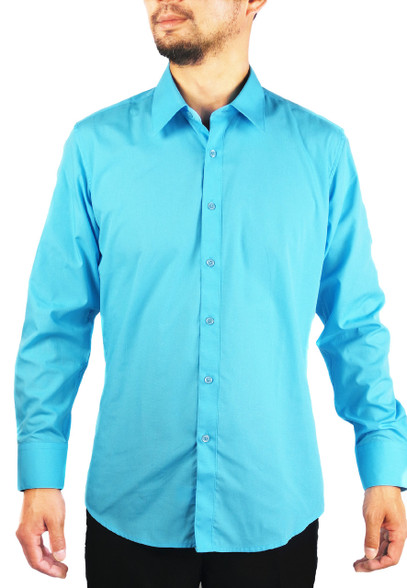 Teal Blue Men 39 S Solid Slim Fit Amanti Convertible Cuff