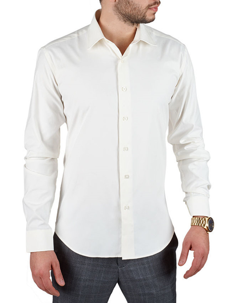 Off white men 39 s solid slim fit amanti convertible cuff for White non iron dress shirts