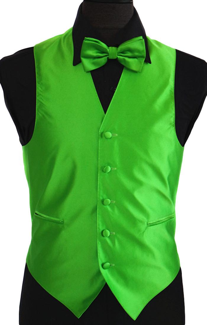 Apple green men 39 s tuxedo vest amanti 4pc set solid for Apple green dress shirt