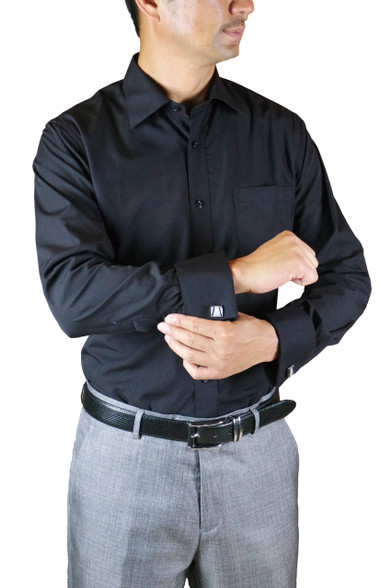 Black Men 39 S Solid French Cuff Amanti Dress Shirt