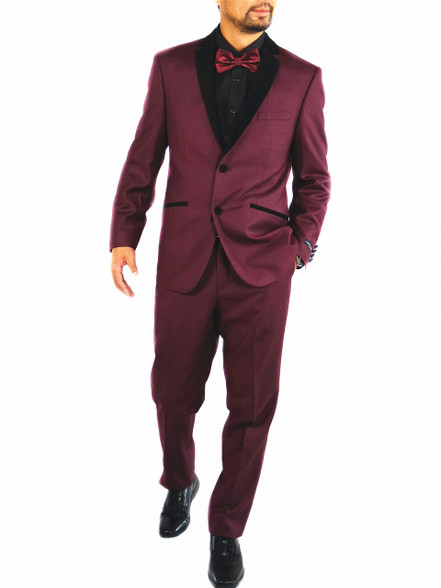 Burgundy Men's Slim Fit Notch Lapel Tuxedo | FASCINO UOMO 2PC 2 ...