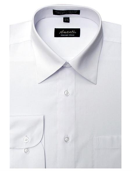 White Men 39 S Classic Solid Regular Fit Amanti Dress Shirt
