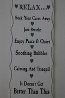 """Relax"" wooden hanging plaque"