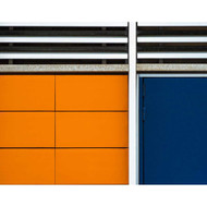 Blue Door - Orange Wall by Luc Vangindertael