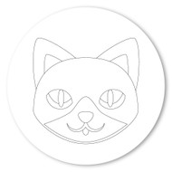 Emoji One COLORING Wall Graphic: Circle Cat Face