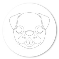 Emoji One COLORING Wall Graphic: Circle Dog Face