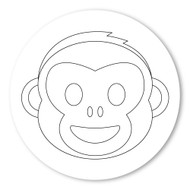 Emoji One COLORING Wall Graphic: Circle Monkey Face