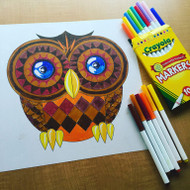 Emoji One COLORING Wall Graphic: Square Owl