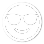 Emoji One COLORING Wall Graphic: Circle Smiling Face With Sunglasses