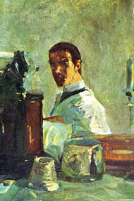 Self Portrait Looking in a Mirror by Toulouse-Lautrec