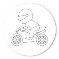 Emoji One COLORING Wall Graphic: Circle Racing Motorcycle