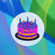 Emoji One COLORING Wall Graphic: Circle Birthday Cake