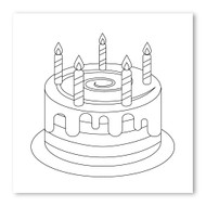 Emoji One COLORING Wall Graphic: Square Birthday Cake