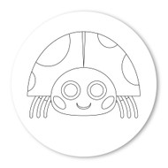 Emoji One COLORING Wall Graphic: Circle Lady Beetle