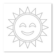 Emoji One COLORING Wall Graphic: Square Sun With Face