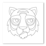 Emoji One COLORING Wall Graphic: Square Tiger Face