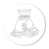 Emoji One COLORING Wall Graphic: Circle Money Bag