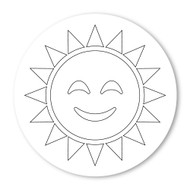 Emoji One COLORING Wall Graphic: Circle Sun With Face