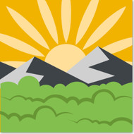 Emoji One Travel & Places Wall Icon: Sunrise Over Mountains