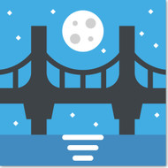 Emoji One Travel & Places Wall Icon: Bridge At Night