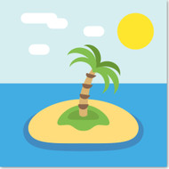 Emoji One Travel & Places Wall Icon: Desert Island