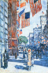 Flags Fifth Avenue by Hassam