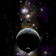 Earth Type World with Two Moons with Nebula And Stars