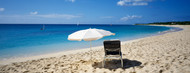 Privacy Screen: Single Beach Chair and Umbrella on Sand