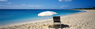 Extra Large Photo Board: Single Beach Chair and Umbrella on Sand - AMER - INDY