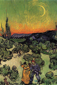 Landscape With Couple Walking Crescent Moon by Van Gogh