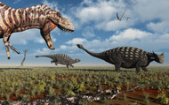 A Tyrannosaurus Rex Hunting Down A Pair Of Ankylosaurus Dinosaurs III