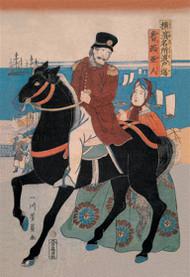 Mounted Russian Horseman Bids Adieu to Woman